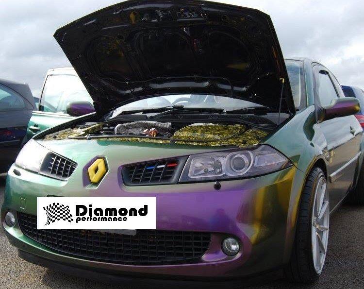 Renault Megane Mk2 2000-2008,R26/225 FRONT&REAR Diamond Badge covers GLOSS  BLACK